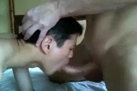 bareback Interacial oriental And White Eat sperm