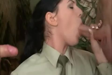brunette hair gal In Al anal 3some With two juicy Soldiers