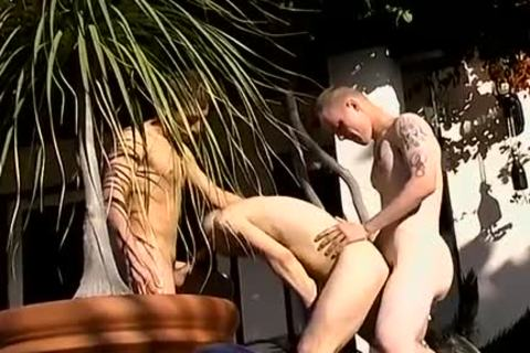 Three excited homosexuals suck knobs And fuck ass Poolside 3some