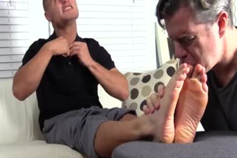 concupiscent And muscular Tommy gets His sleazy Feet Licked Hard