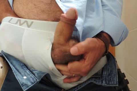 Teasing And jerking off A fine Tool With Precum In Some White Boxer underclothing