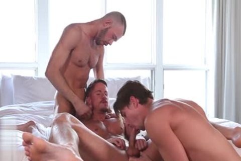 large penis homosexual three-some And Facial