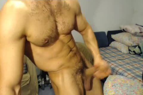 muscular Hunk With A Horse cock Jerks Off And Cums