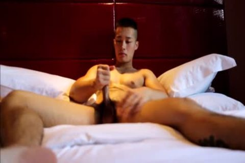 Tattooed handsome oriental Hunk With Muscles And throbbing penis