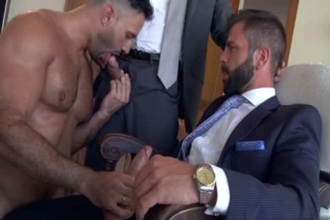 Muscle homosexual three-some With ball cream flow