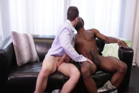 large knob homosexual Interracial With ball cream flow