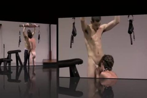 bondage twinks Play In Dungeon Whipping oral-service gay bdsm