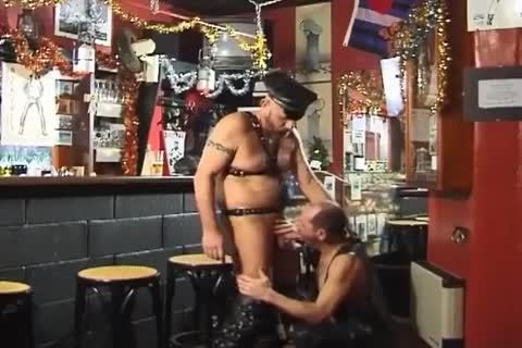 these Two big dudes Wearing Leather enjoy pretty Sex At The Bar