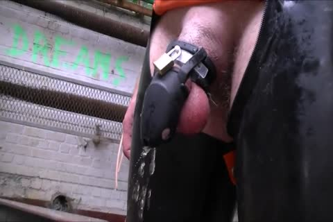 Cb Locked serf Pissing And Playing With fake penis