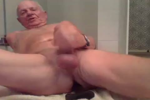 old man jerk off jerk off With  A fake penis In wazoo And spooge