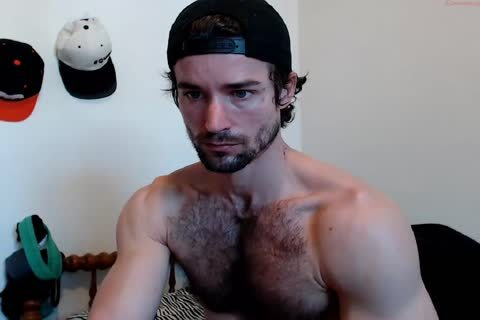 Muscle hairy man jerk off