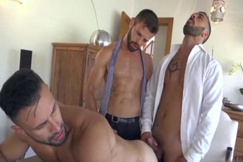 Muscle homosexuals three-some With ejaculation