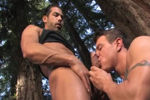 Tattoo homosexual Outdoor Sex And spunk flow