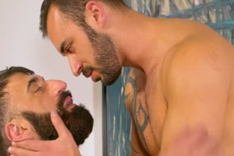Bearded curly Muscle Bear blows Some Tool blows Some Bum For A worthy Facial