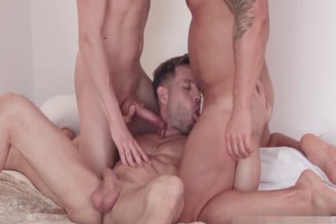 Russian homosexual threesome And Facial