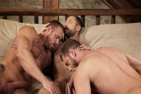 Muscle homo 3some With Creampie