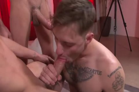 large cock gay threesome And cream flow