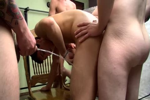 cocksucker Bryce Corbin Blindfolded And pissed On fuckfest
