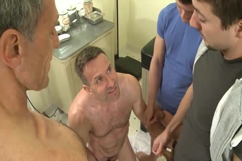 two horny Daddys poke two Much Younger guys