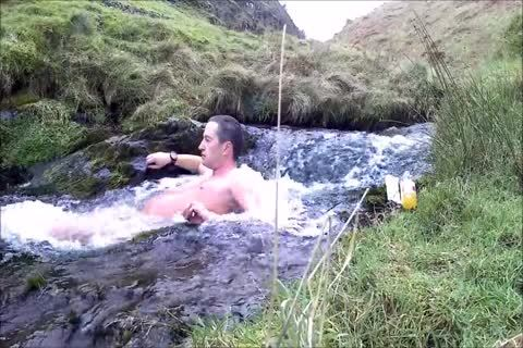 Half Hour nude Dip In Cold Scottish Waterfall In Winter