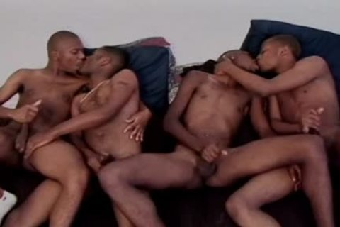 Four lascivious ebony males have a enjoyment A Four-way gay orgy