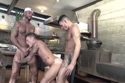 three-some Latinos plowing In The Kitchen