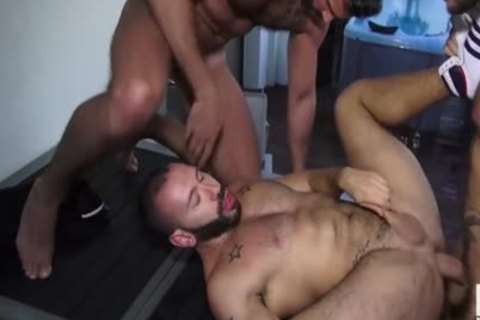 juicy Three-some homosexual Muscle ass plow