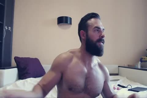 Bearded dude On webcam Using A fake penis Part 1