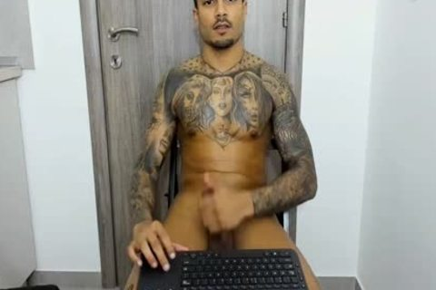 Full Tattooed nice-looking Prince Stroking His large rod On cam